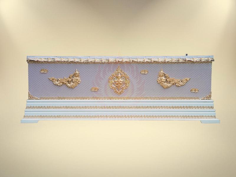 หีบผ้าตาดทองเรียบครึ่งใบฐาน 2 ชั้น