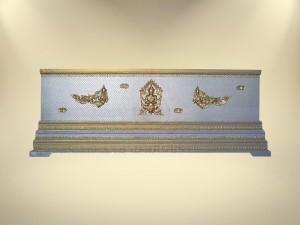 หีบบุผ้าตาดเงิน-ทองเรียบฐาน 3 ชั้น
