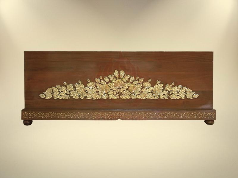 หีบไม้สักแกะลายกุหลาบปิดทองคำเปลว 99%
