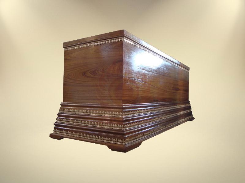 หีบไม้สักฐาน 3 ชั้นติดใบอ้อย โลงศพขายดี จำหน่ายโลงศพ โลงศพราคา