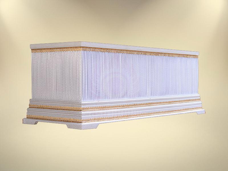 หีบบุผ้าตาดเงินย่นฐาน 2 ชั้น ขายโลงศพมาตรฐาน โลงศพขายดี