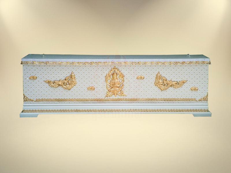 หีบผ้าลูกไม้ครึ่งใบฐาน 1 ชั้น หีบศพ โลงศพ จำหน่ายโลงศพ