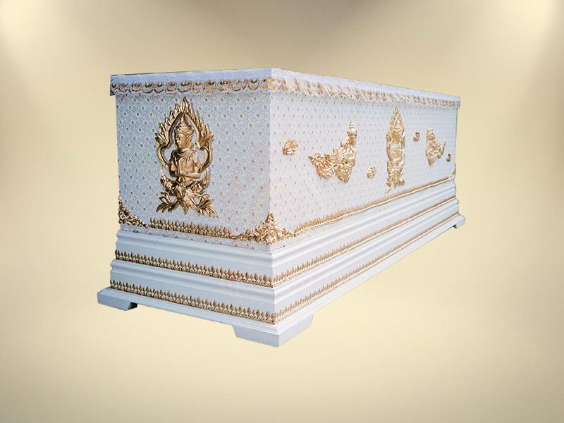 หีบผ้าลูกไม้ครึ่งใบฐาน 2 ชั้น โลงศพธรรมดา สุริยาหีบศพ ขายโลงศพ โลงศพ