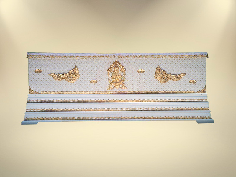 หีบผ้าลูกไม้ครึ่งใบฐาน 3 ชั้น โลงศพธรรมดา สุริยาหีบศพ ขายโลงศพ