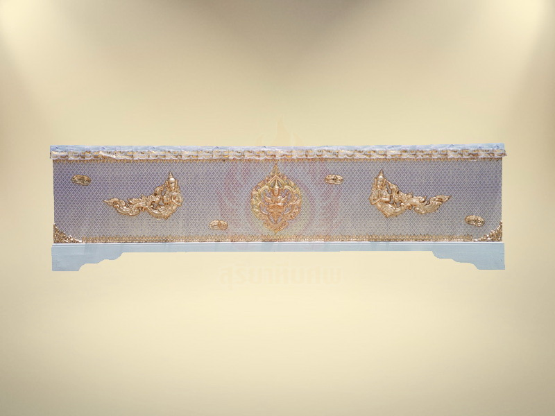 หีบขอบเทพพนมผ้าตาดทองเรียบ ขายโลงศพ สุริยาหีบศพ