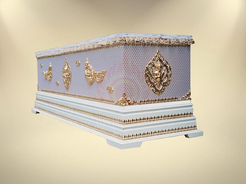 หีบผ้าตาดทองเรียบครึ่งใบฐาน 2 ชั้น โลงศพธรรมดา สุริยาหีบศพ ขายโลงศพ