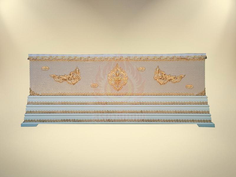 หีบผ้าตาดทองเรียบครึ่งใบฐาน 3 ชั้น โลงศพธรรมดา สุริยาหีบศพ ขายโลงศพ