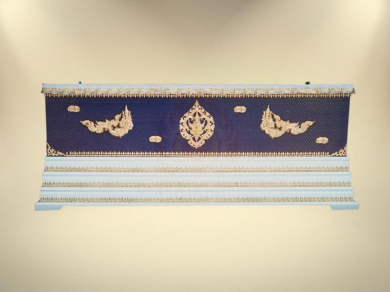 หีบผ้าตาดน้ำเงินเรียบครึ่งใบฐาน 3 ชั้น โลงศพธรรมดา สุริยาหีบศพ ขายโลงศพ