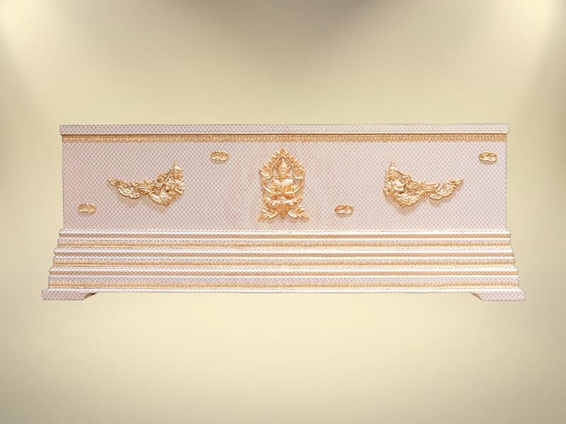 หีบบุผ้าตาดทองเรียบฐาน 3 ชั้น หีบศพ โลงศพ สุริยาหีบศพ
