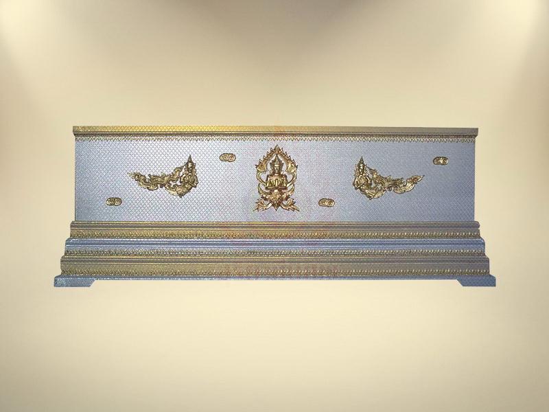 หีบบุผ้าตาดเงินเรียบฐาน 3 ชั้น หีบศพ โลงศพ ขายโลงศพ