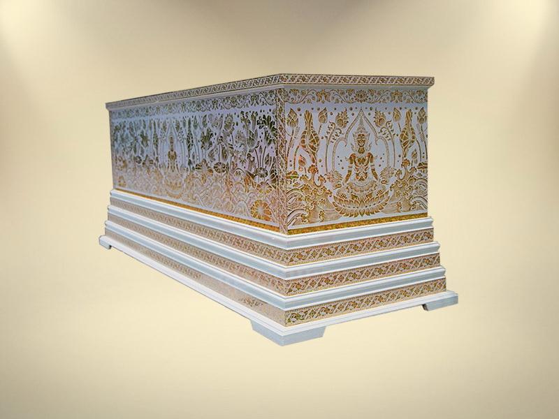 หีบสติ๊กเกอร์มุกฐาน 3 ชั้น สุริยาหีบศพ ขายโลงศพ จำหน่ายโลงศพ